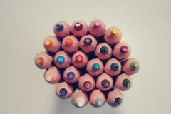 Piled Colored Pencils Royalty Free Stock Photo