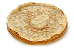 Piled crepes on a white background Stock Photo