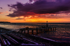 Piled Dock Cafe Construction In Sunset Royalty Free Stock Photo