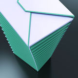 Piled Envelopes Shows Computer Mail Outbox Communication Stock Images