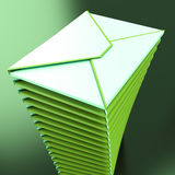 Piled Envelopes Shows Electronic Mailbox Internet Communication Royalty Free Stock Photography