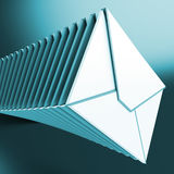Piled Envelopes Shows Inbox Messages On Computer Stock Images