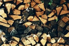 Piled Fire Wood Stock Images