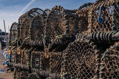 Piled fish baskets royalty free stock photography