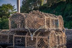 Piled fish baskets royalty free stock photo