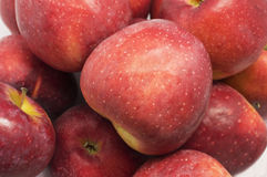 Piled fresh red apples. High angle view of piled fresh red apples Royalty Free Stock Photography