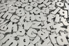 Piled of gray metallic alphabet fonts. 3D rendering of pile of gray metallic lower case alphabet fonts shot from above Royalty Free Stock Photography