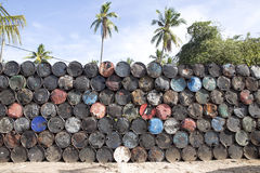 Piled high with empty metal barrels, Nusa Penida-Bali, Indonesia Royalty Free Stock Photography