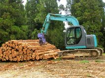 Piled logs and a harvester. One scene of forest industry.  Lots of piled logs and a harvester Stock Photography