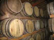 Piled Oak Barrels Royalty Free Stock Images
