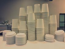 Piled piled cups royalty free stock photos