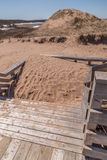 Piled Sand on Wooden Stairs Stock Images