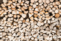 Piled split firewood Stock Images