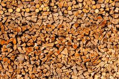 Piled split forest wood logs renewable heat energy Stock Images