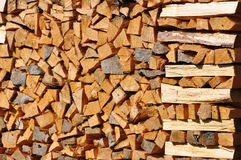 Piled up firewood. Dry firewood piled up to a stack Stock Image