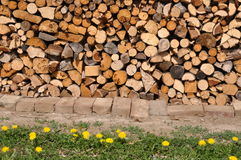 Piled up firewood. Dry firewood piled up to a stack with some grass in  foreground Stock Images