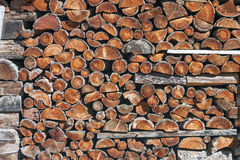 Piled up firewood Royalty Free Stock Images