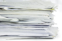 Piled up office work papers Stock Images