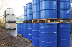 Piled up oil barrels Royalty Free Stock Photos