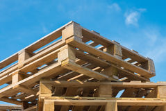 Piled up pallets Stock Photo