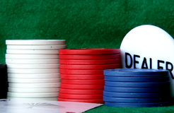 Piled up poker chips stock photography
