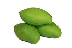 Piled Up Three Vibrant Green Color Young Mangoes Isolated on White stock images