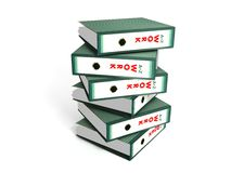 Piled Up Work. A background with a view of a pile of six work files, isolated on a white background Vector Illustration