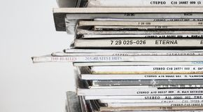Piled Vinyl Records With White Background Stock Image