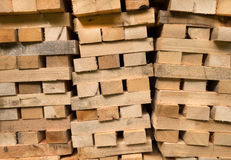 Piled wooden beams Royalty Free Stock Image