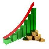pilen coins finansiell guld- framgång för begreppsdiagram Royaltyfri Foto