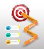 Pilen för affärsidéen 3d går att uppsätta som mål Arkivfoto