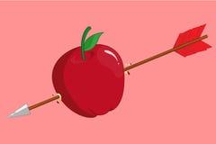 Pilen slogg äpplet Arkivfoto