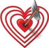 Pilen slogg hjärta-målet royaltyfri illustrationer