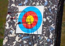 Pilen trängde igenom mitten av det pappers- målet av koncentriska cirklar av olika färger Royaltyfri Bild