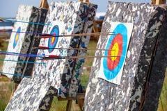 Pilen trängde igenom mitten av det pappers- målet av koncentriska cirklar av olika färger Royaltyfria Bilder