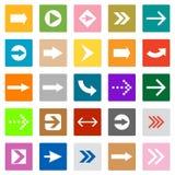 Pilen undertecknar symbolsuppsättningen kvadrerar formar internet knäppas vektor illustrationer