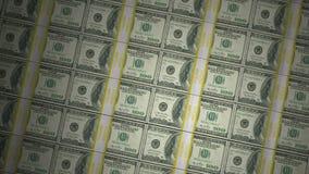Piles énormes animées de cent billets d'un dollar clips vidéos