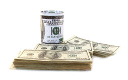 Piles of 100 dollars with money box Stock Photo