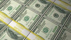 Piles animées de cent billets d'un dollar allant par banque de vidéos