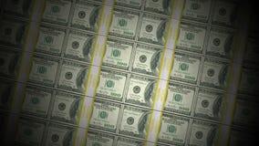 Piles animées de cent rotations de billets d'un dollar banque de vidéos