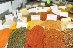 Piles of aromatic spices at market Royalty Free Stock Images
