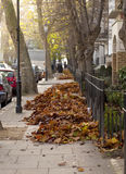 Piles of Autumn. At the end of autumn the leaves need to be swept up and taken away to avoid being a hazard on the footpath. Piles of leaves are swept into stock photography