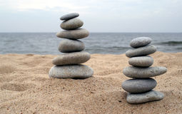 Piles of balanced stones Stock Photos