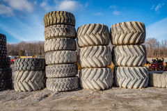 Piles of big tires Royalty Free Stock Photos