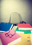 Piles of binders with documents. Stock Photo