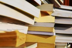 Piles of books, close up, background Royalty Free Stock Image