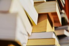 Piles of books, education concept, close up Stock Image