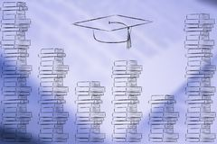 Piles of books with graduation hat above them Royalty Free Stock Image