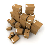 Piles of boxes. Piles of cardboard boxes on a white background Stock Photos