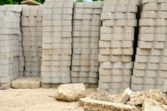Piles of bricks and gravel in a construction site. Stock Photography